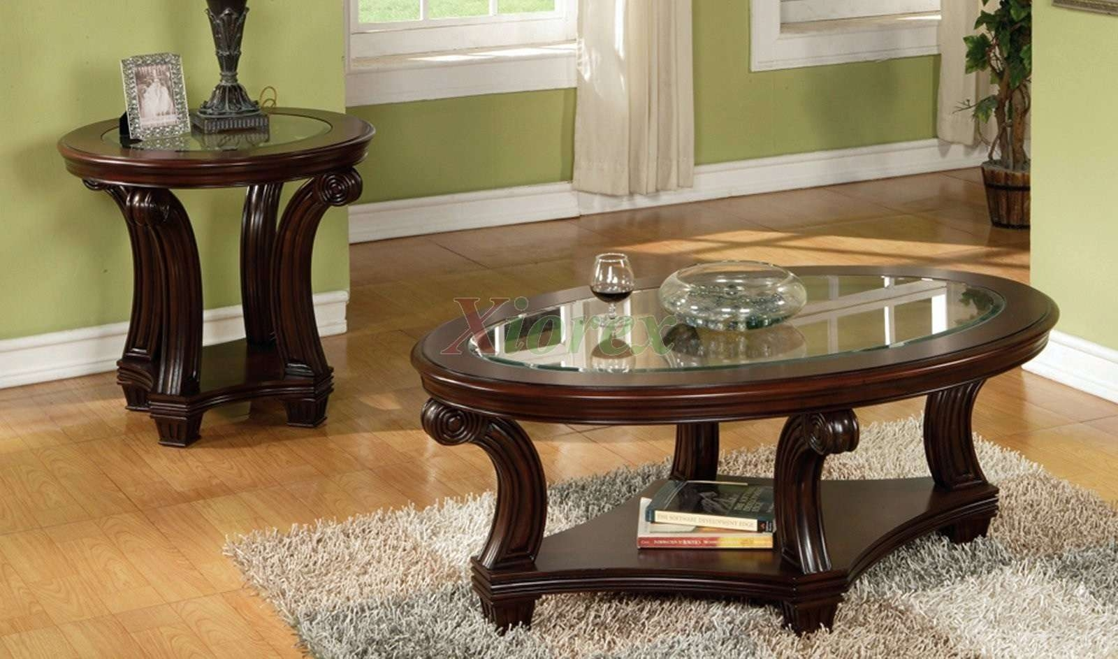 Round Glass Coffee Tables Modern Furniture Of America Carnes Dark Regarding Well Liked Cherry Wood Coffee Table Sets (View 19 of 20)