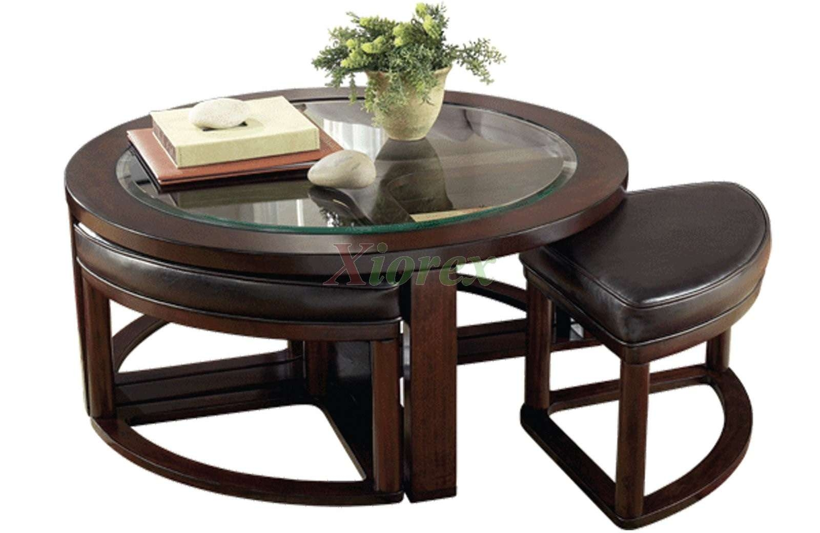 Round Leather Ottoman Coffee Table Tags : Marvelous Fabric Coffee For Favorite Coffee Table With Stools (View 16 of 20)