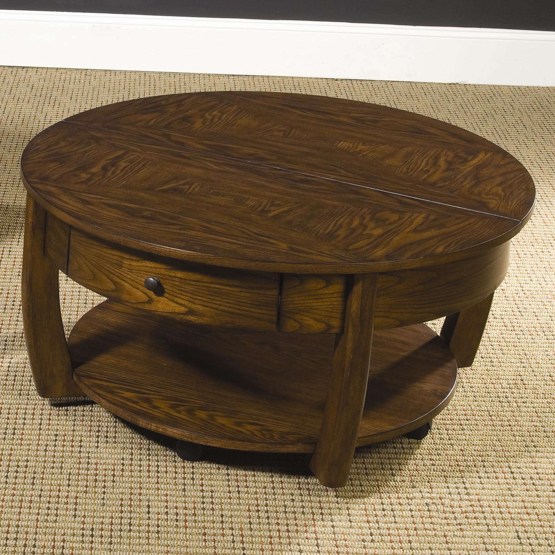 Round Lift Top Cocktail Table With Lower Shelf And Drawer For Recent Round Coffee Tables With Drawers (View 5 of 20)