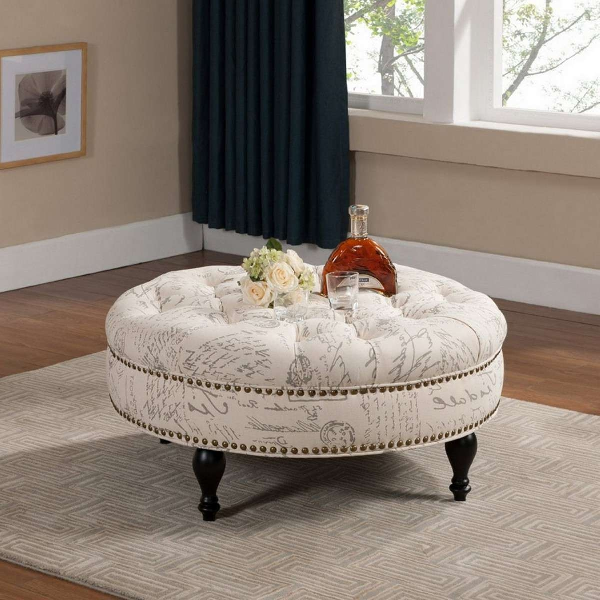 Round Ottoman Coffee Table Tray Decor Throughout Popular Round Coffee Table Trays (View 14 of 20)