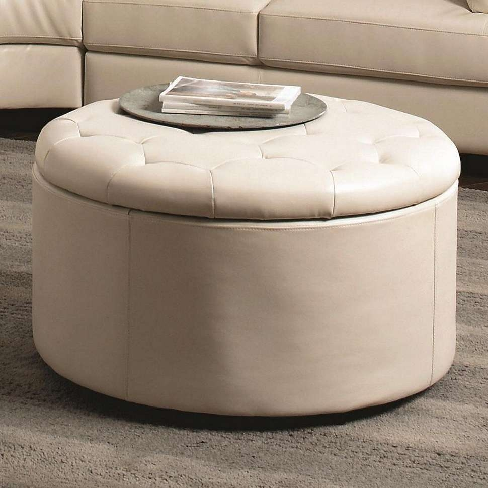 Round Ottoman Coffee Table Tray Ideas Intended For Best And Newest Round Coffee Tables With Storages (View 15 of 20)
