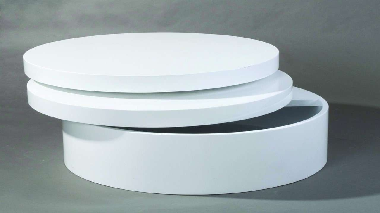 Round Swivel High Gloss White Coffee Table – Homegenies Throughout Latest Round Swivel Coffee Tables (View 7 of 20)