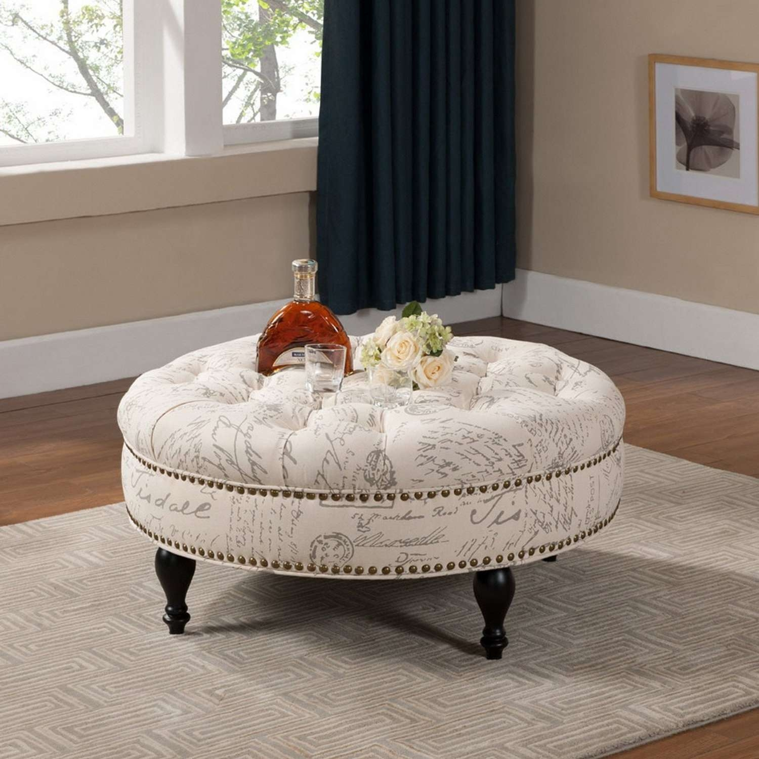 Round Tufted Coffee Table Ottoman Round Tufted Ottoman Coffee Pertaining To 2018 Round Upholstered Coffee Tables (View 10 of 20)