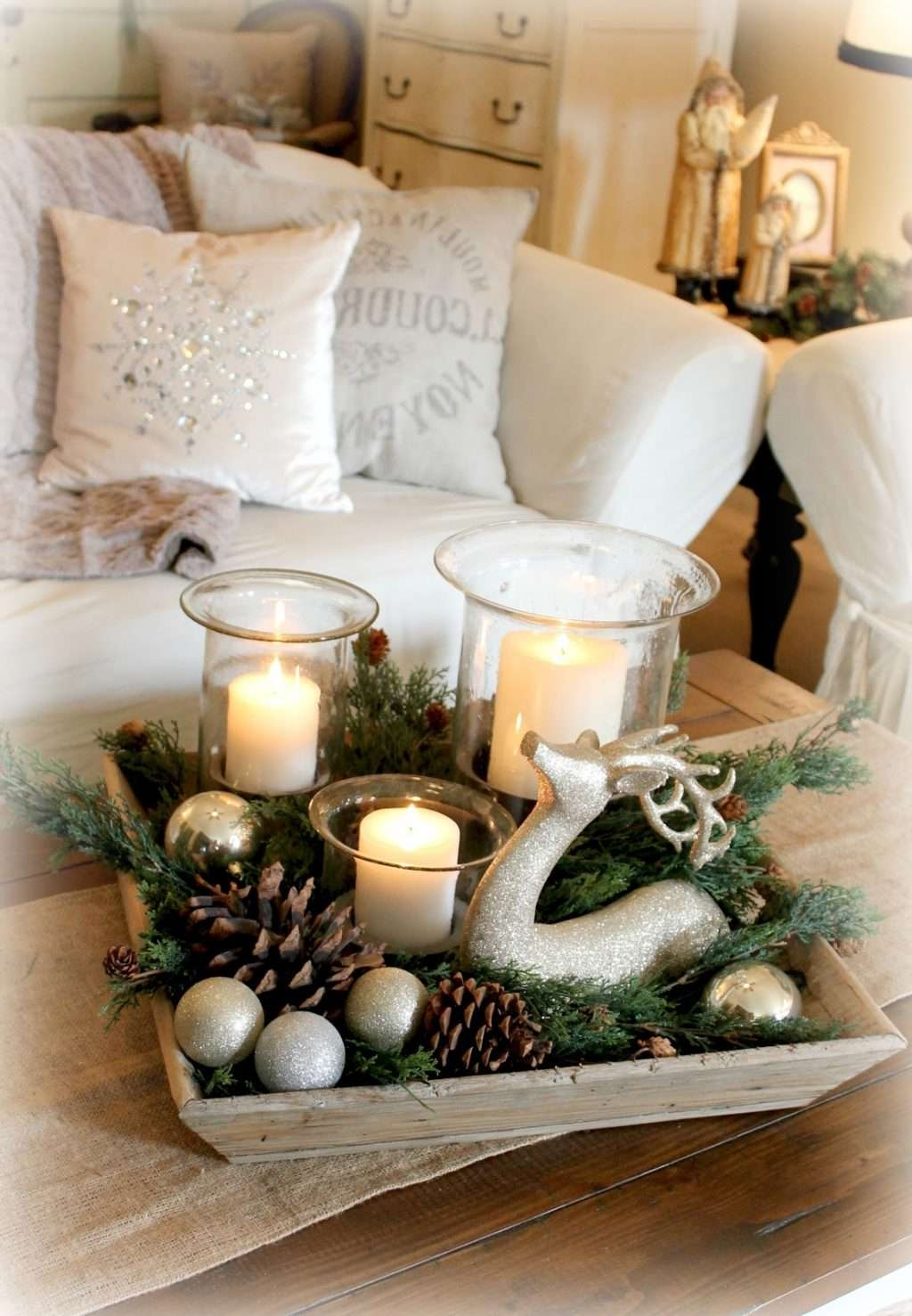 Rustic Christmas Table Decorations Rustic Christmas Coffee Table Throughout Fashionable Rustic Christmas Coffee Table Decors (View 2 of 20)