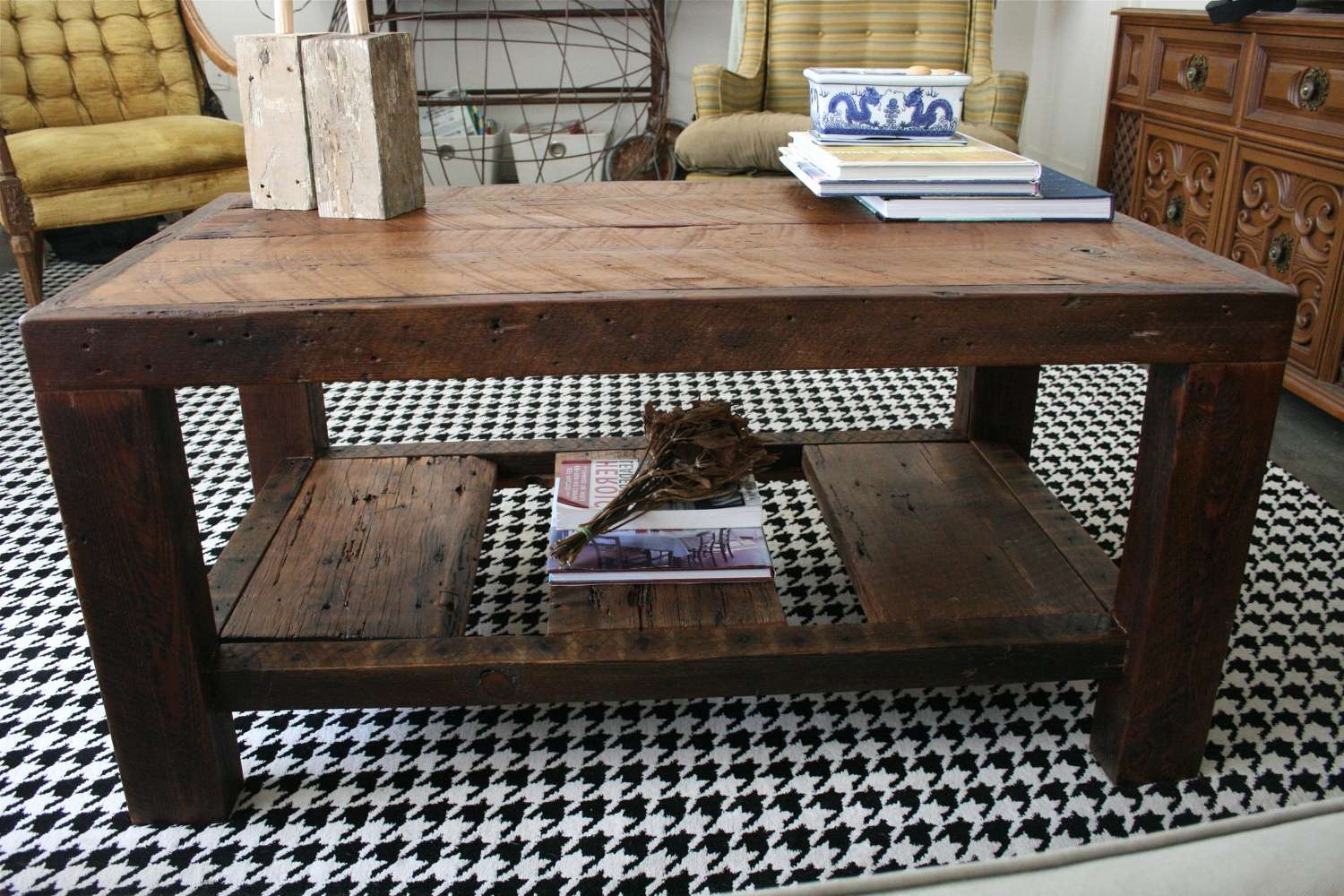 Rustic Coffee Table Images : Creating Private Lounge Place With Intended For Most Recently Released Large Rustic Coffee Tables (View 15 of 20)