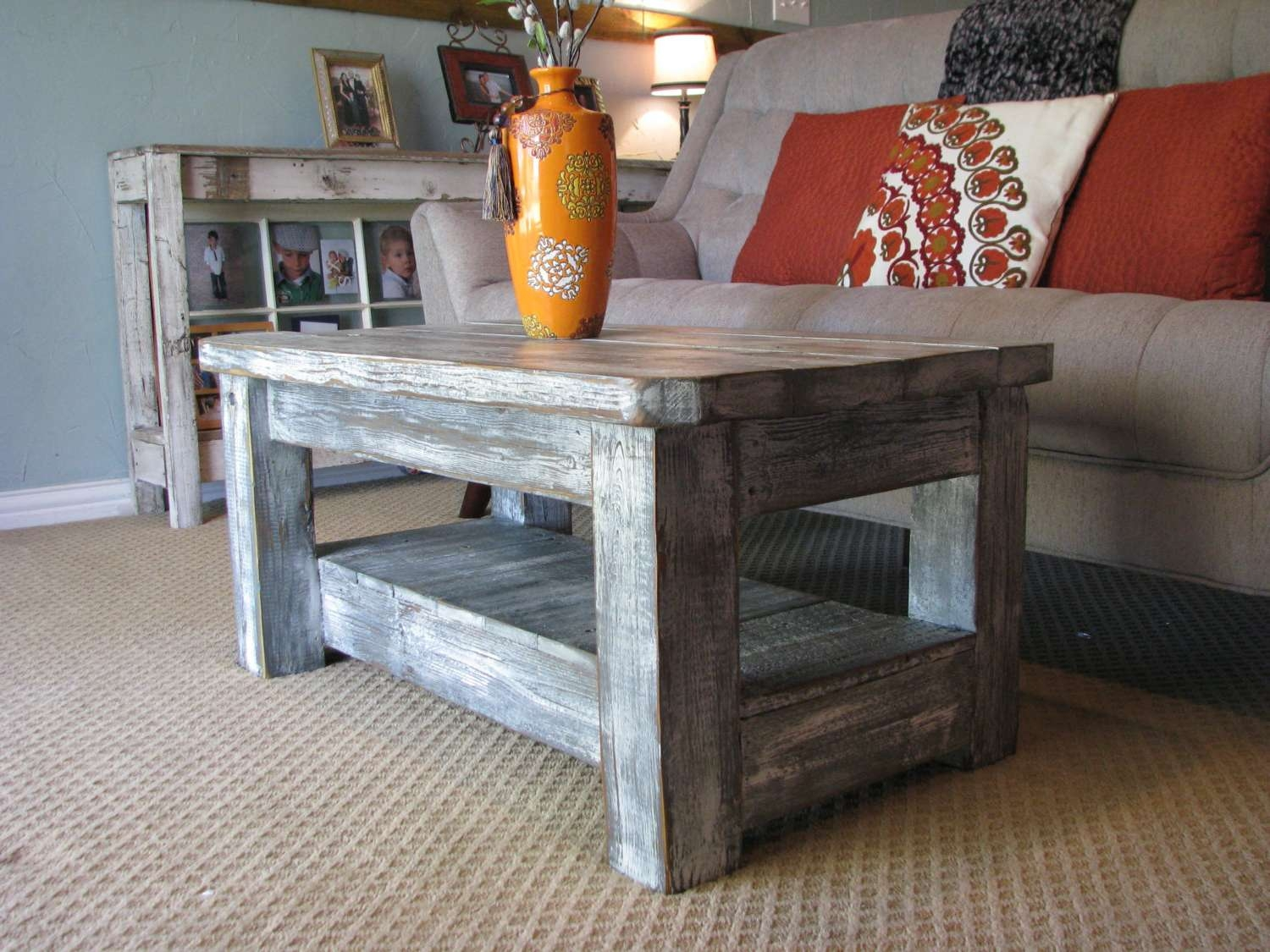 """Rustic Coffee Table With Shelf In """"weathered Grey"""" **choose From Intended For Well Known Rounded Corner Coffee Tables (View 15 of 20)"""