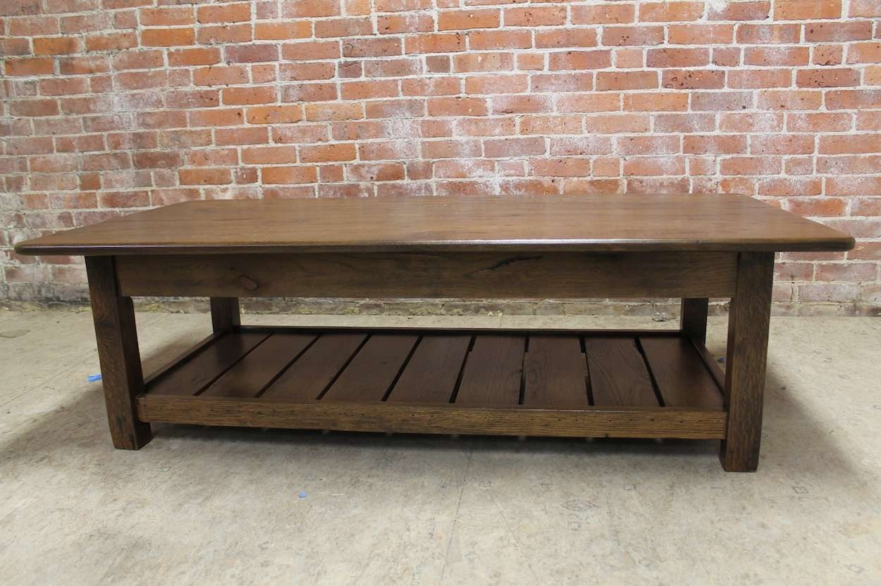 Rustic Coffee Table With Slatted Shelf Design – Ecustomfinishes Regarding Widely Used Oak Coffee Table With Shelf (View 6 of 20)