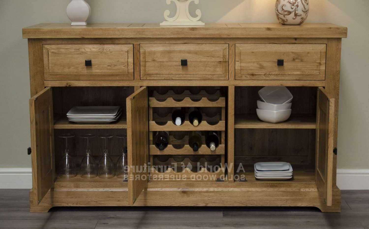 Rustic Deluxe 3 Door Sideboard With Internal Wine Rack | A World Throughout Sideboards With Wine Rack (View 13 of 20)