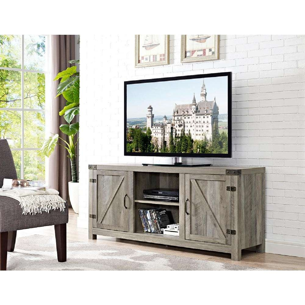Rustic – Gray – Tv Stands – Living Room Furniture – The Home Depot Intended For Fashionable Rustic Coffee Table And Tv Stand (View 17 of 20)