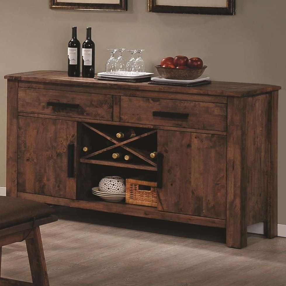 Rustic Indoor Dining Room Design With Maddox Brown Wood Sideboard Intended For Dining Room Sideboards And Buffets (View 16 of 20)