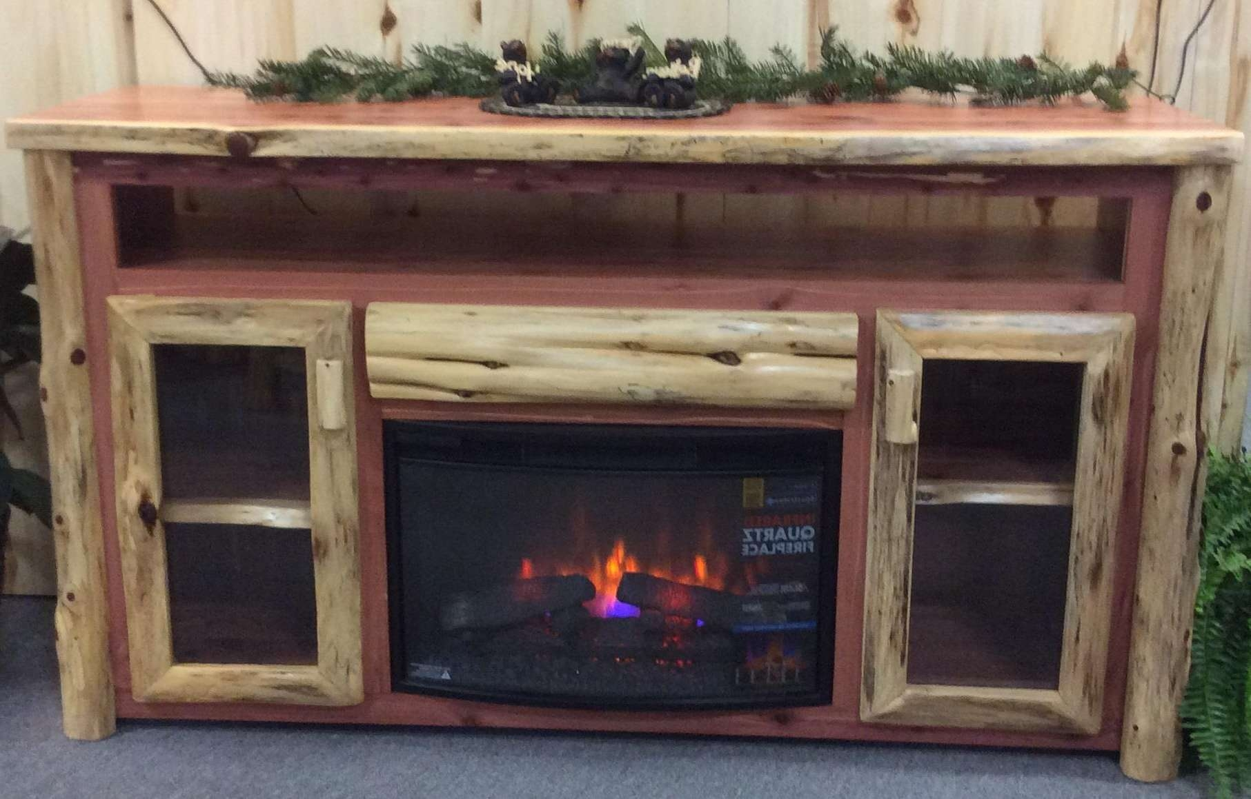 Rustic Log Tv Cabinet With Electric Fireplace Also Rustic Electric Intended For Rustic Tv Cabinets (View 9 of 20)