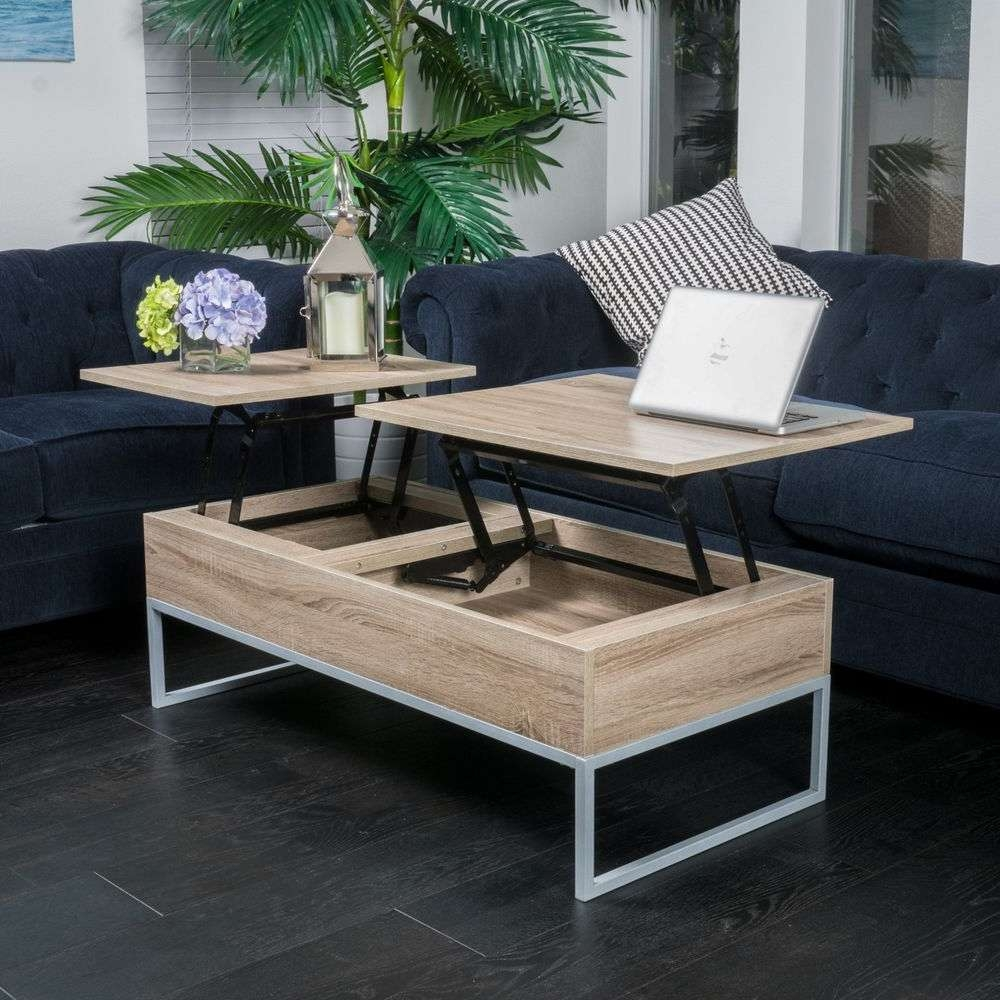 Rustic Modern Natural Brown Wood Lift Top Storage Coffee Table (View 11 of 20)