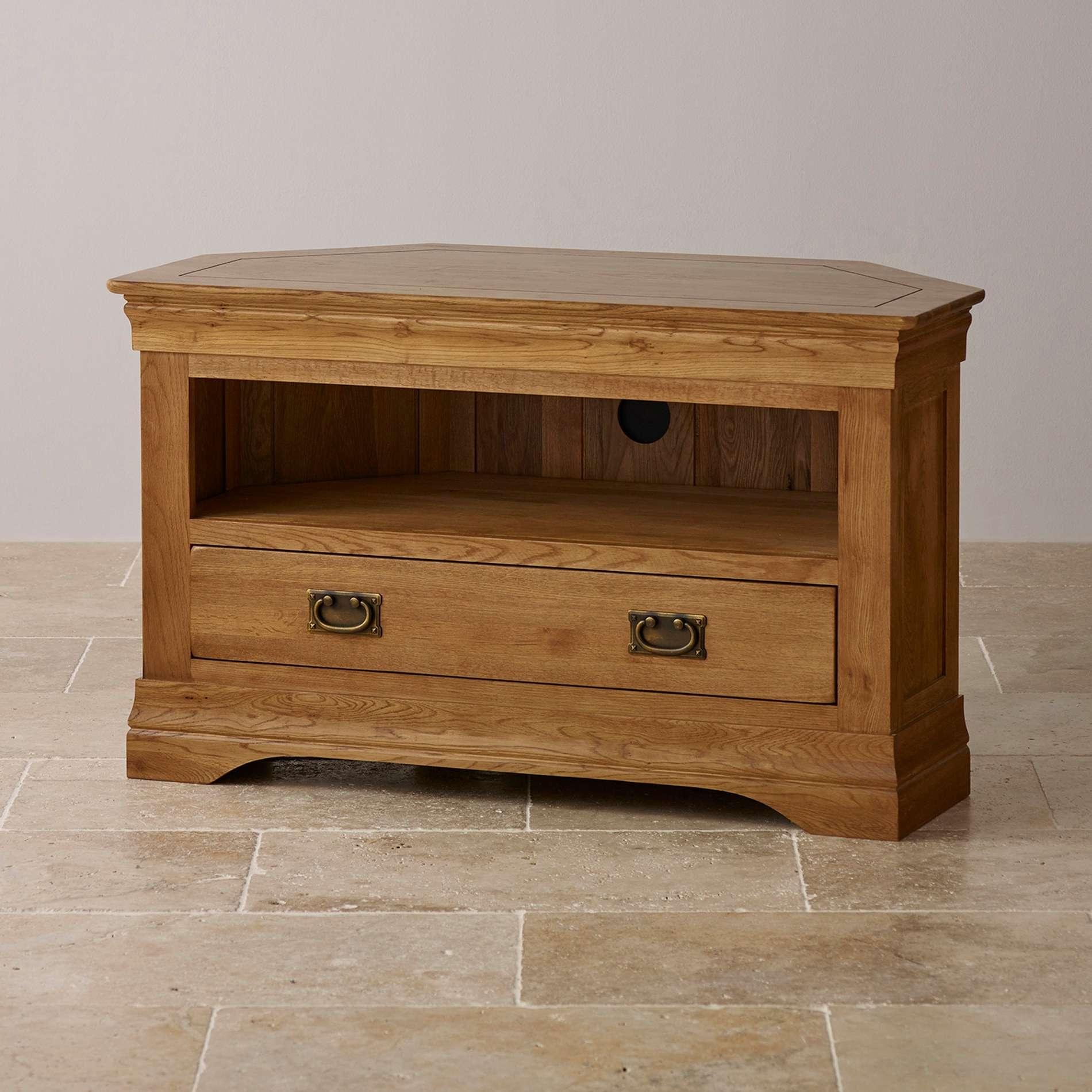 Rustic Oak Corner Tv Cabinet • Corner Cabinets Inside Solid Oak Corner Tv Cabinets (View 16 of 20)