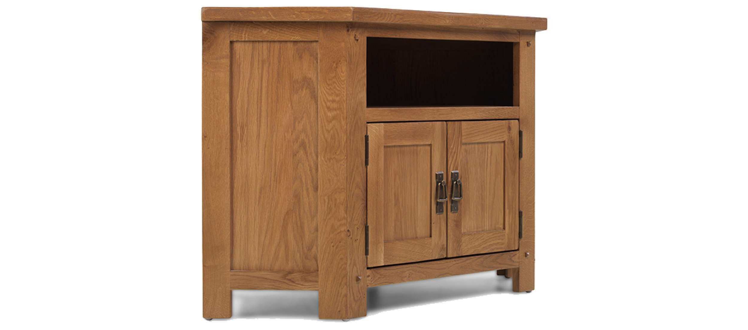 Rustic Oak Corner Tv Cabinet | Quercus Living Inside Corner Tv Cabinets (View 15 of 20)