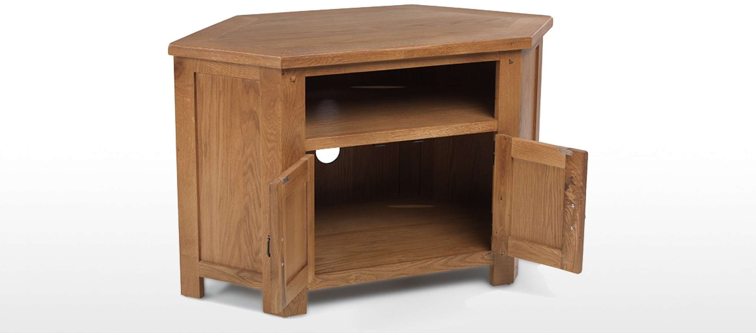 Rustic Oak Corner Tv Cabinet | Quercus Living Throughout Rustic Wood Tv Cabinets (View 12 of 20)