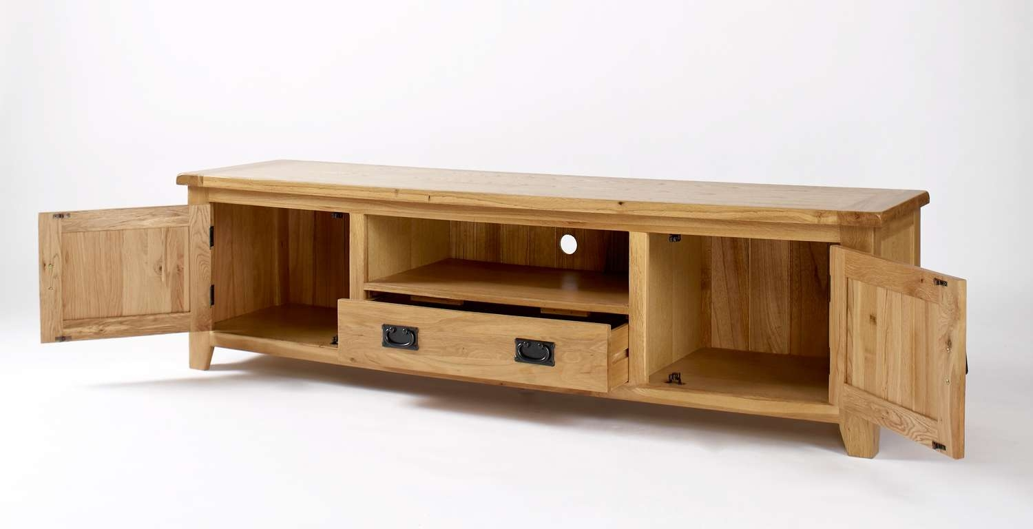 Rustic Oak Widescreen Tv Cabinet | Hampshire Furniture Intended For Oak Tv Cabinets (View 12 of 20)
