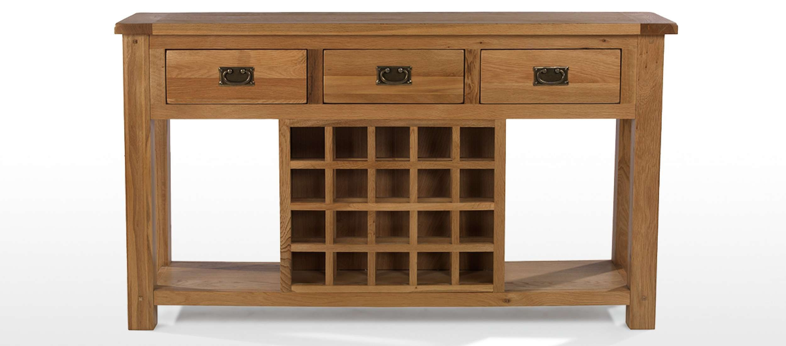Rustic Oak Wine Rack Console Table | Quercus Living With Sideboards With Wine Rack (View 18 of 20)