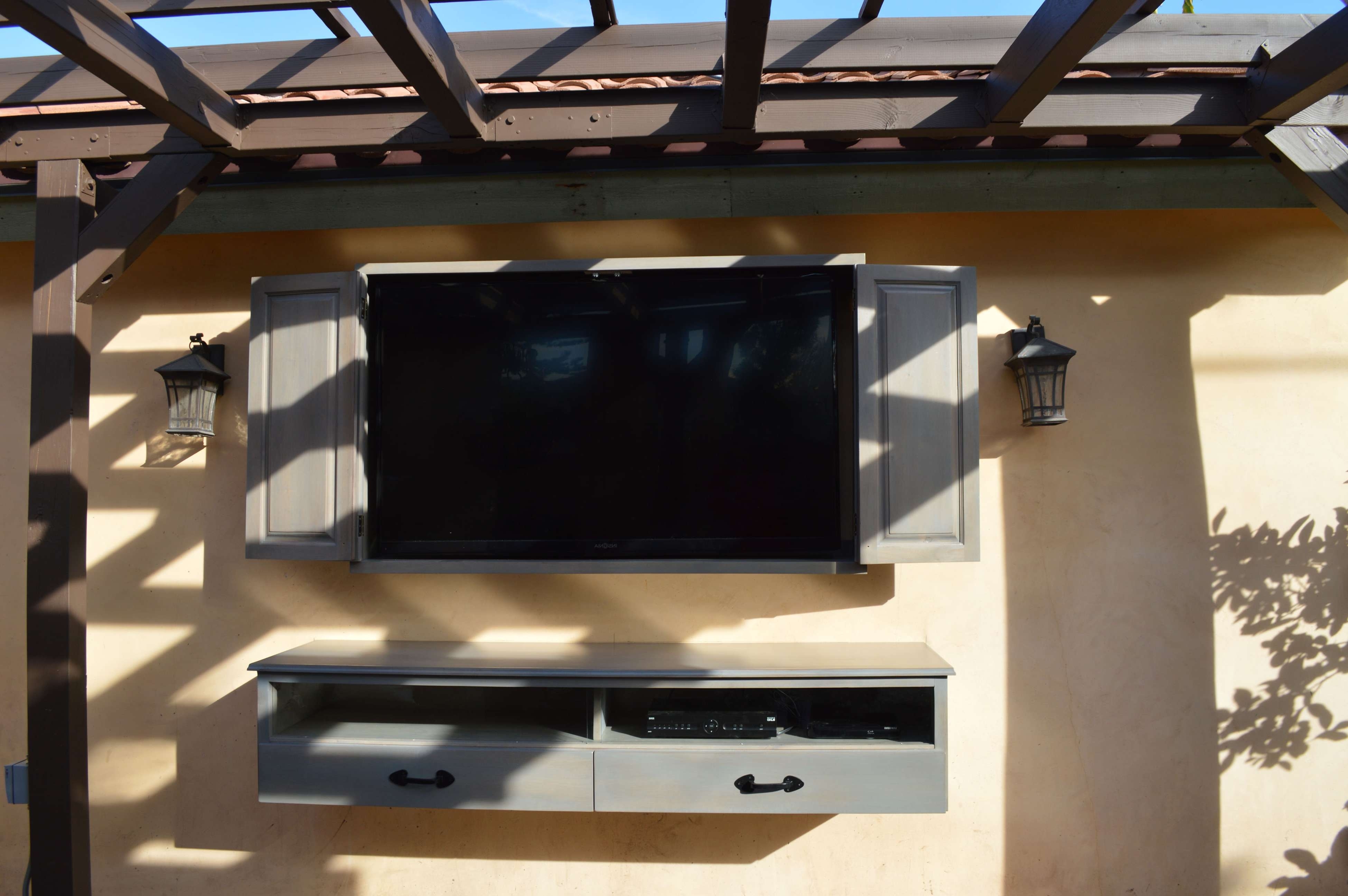 Rustic Outdoor Wall Mounted Tv Cabinets For Flat Screens With With Regard To Wall Mounted Tv Cabinets With Doors (View 7 of 20)