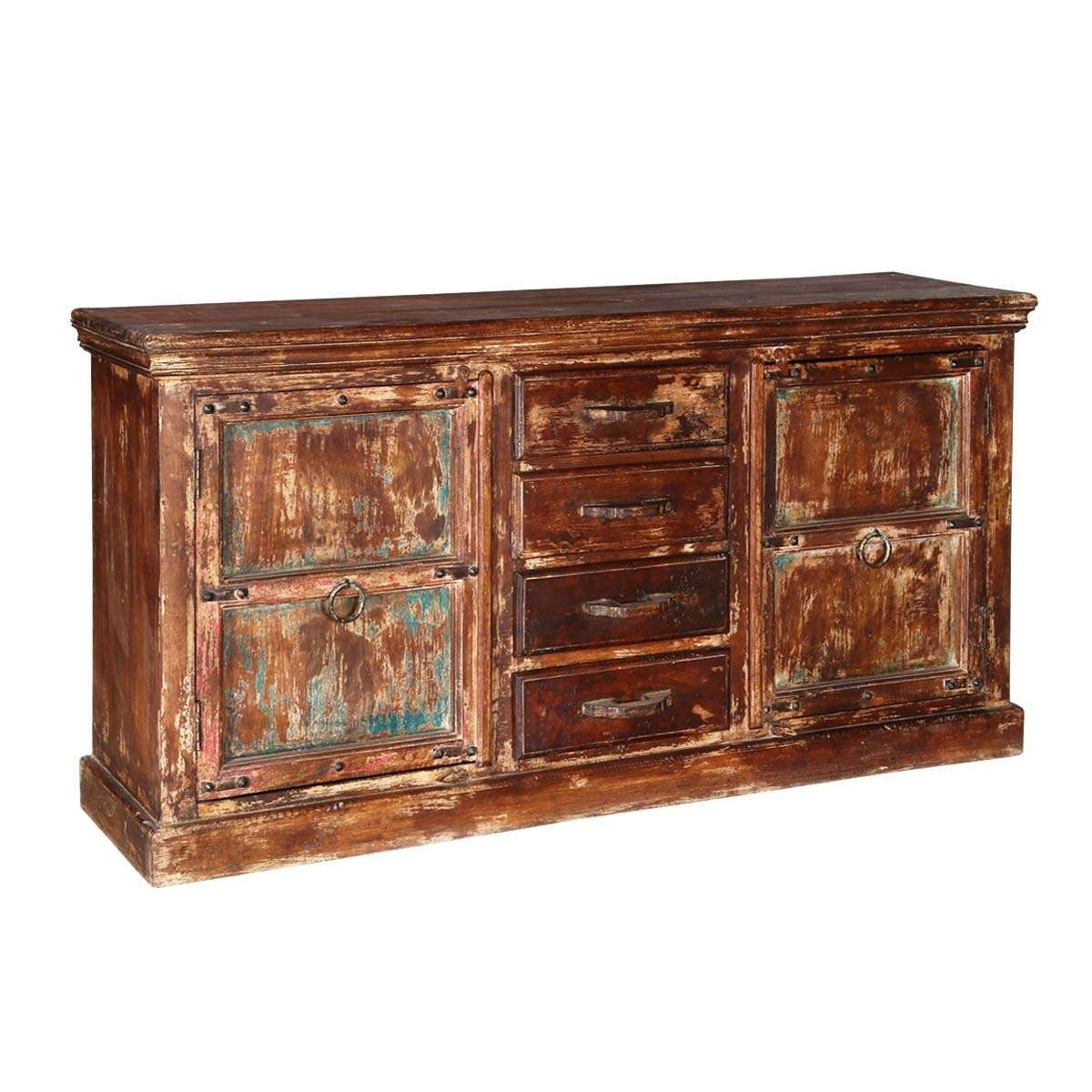 Rustic Reclaimed Wood 2 Door 4 Drawer Accent Sideboard Cabinet Intended For Reclaimed Sideboards (View 7 of 20)