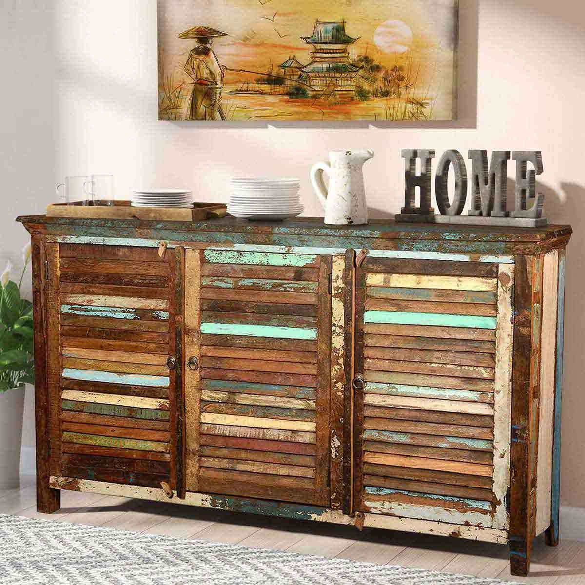 Rustic Reclaimed Wood Shutter Door Buffet Cabinet Pertaining To Reclaimed Wood Sideboards (View 10 of 20)