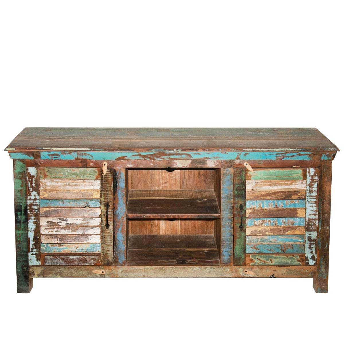 Rustic Shutter Doors Reclaimed Wood Tv Stand Media Console Pertaining To Rustic Tv Cabinets (View 15 of 20)