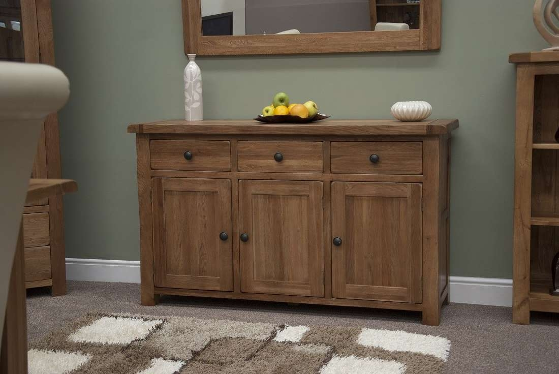 Rustic Solid Oak Large 3 Door Sideboard | Oak Furniture Uk For Solid Oak Sideboards (View 15 of 20)