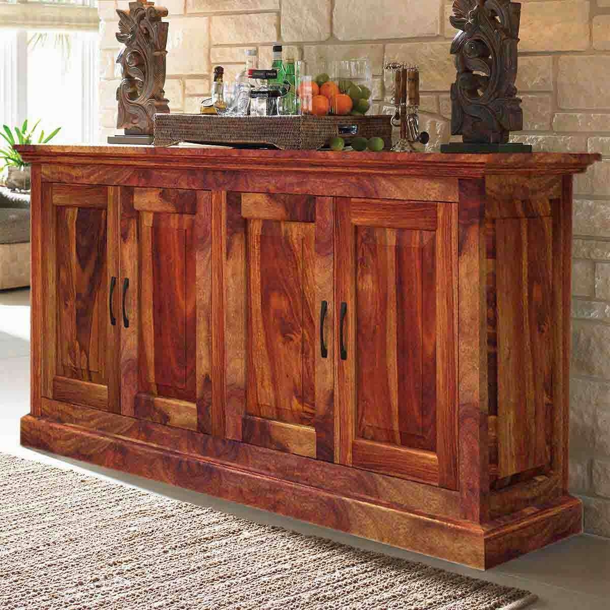 Rustic Solid Wood 4 Door Dining Buffet With Rustic Sideboards Buffets (View 9 of 20)