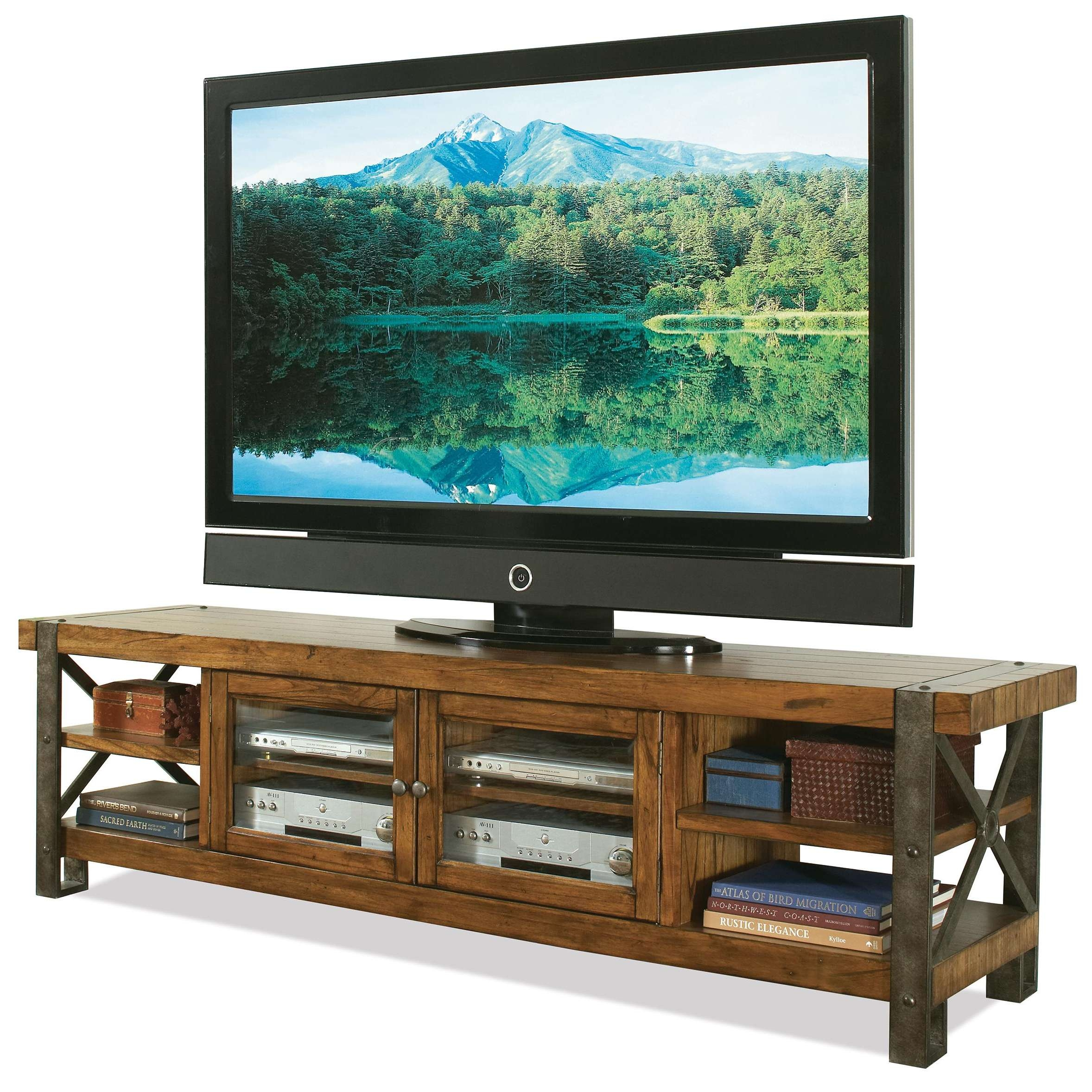 Rustic Tv Stand Console Table With Bookshelf And Storage With With Regard To Wooden Tv Cabinets With Glass Doors (View 15 of 20)