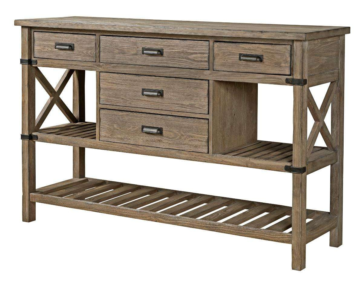 Rustic Weathered Gray Sideboard With Silverware Storagekincaid Pertaining To Server Sideboards Furniture (View 18 of 20)