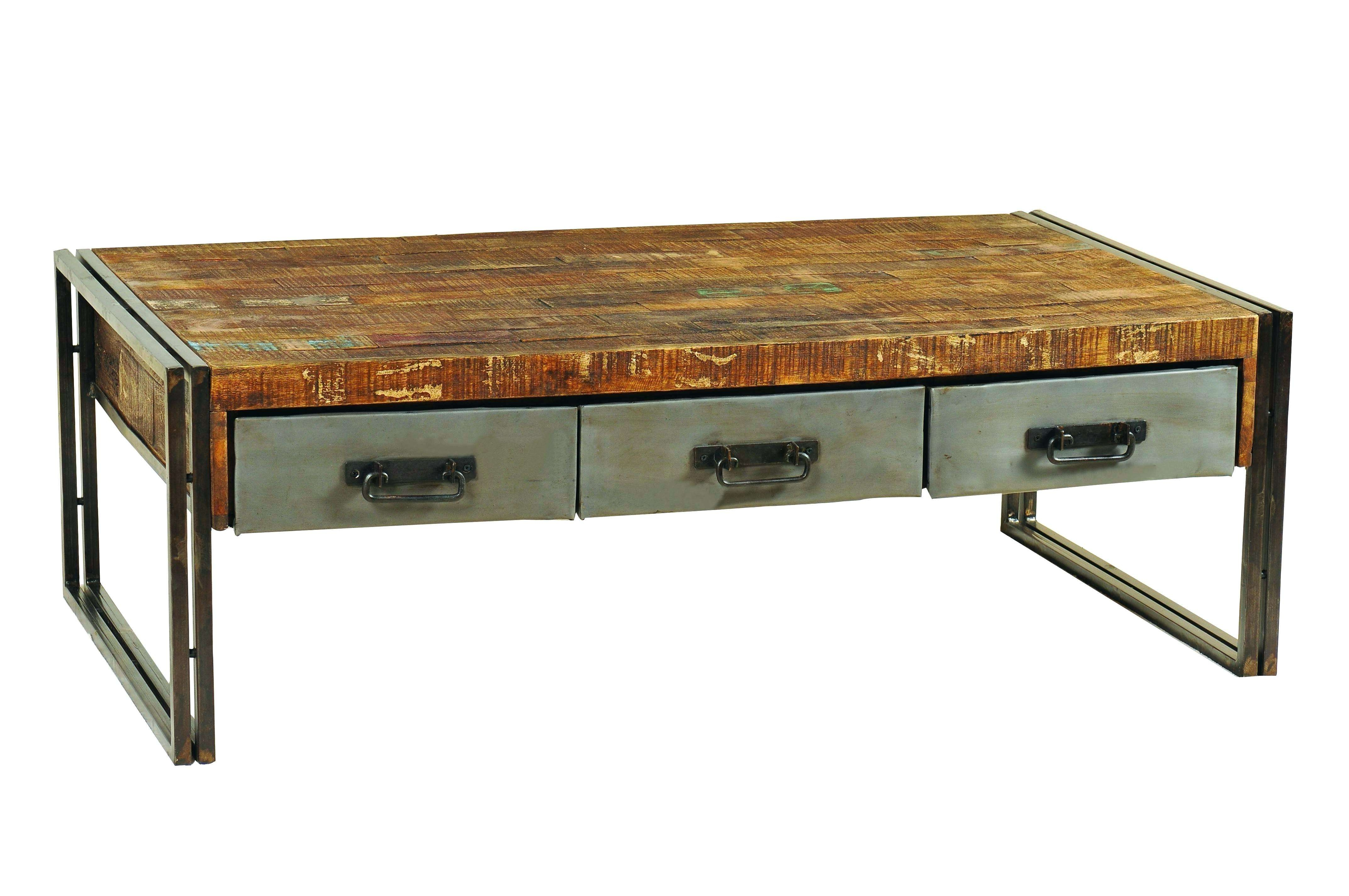 Rustic Wood Metal Coffee Table Industrial Reclaimed Iron Cocktail Intended For Latest Wood And Steel Coffee Table (View 17 of 20)