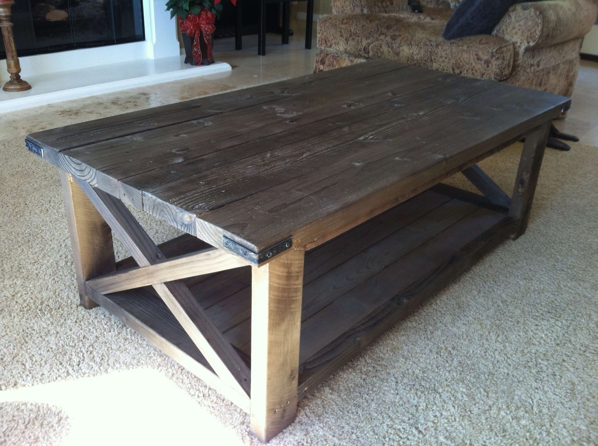 Rustic X Coffee Table – Diy Projects Inside Most Popular Rustic Coffee Tables With Bottom Shelf (View 14 of 20)