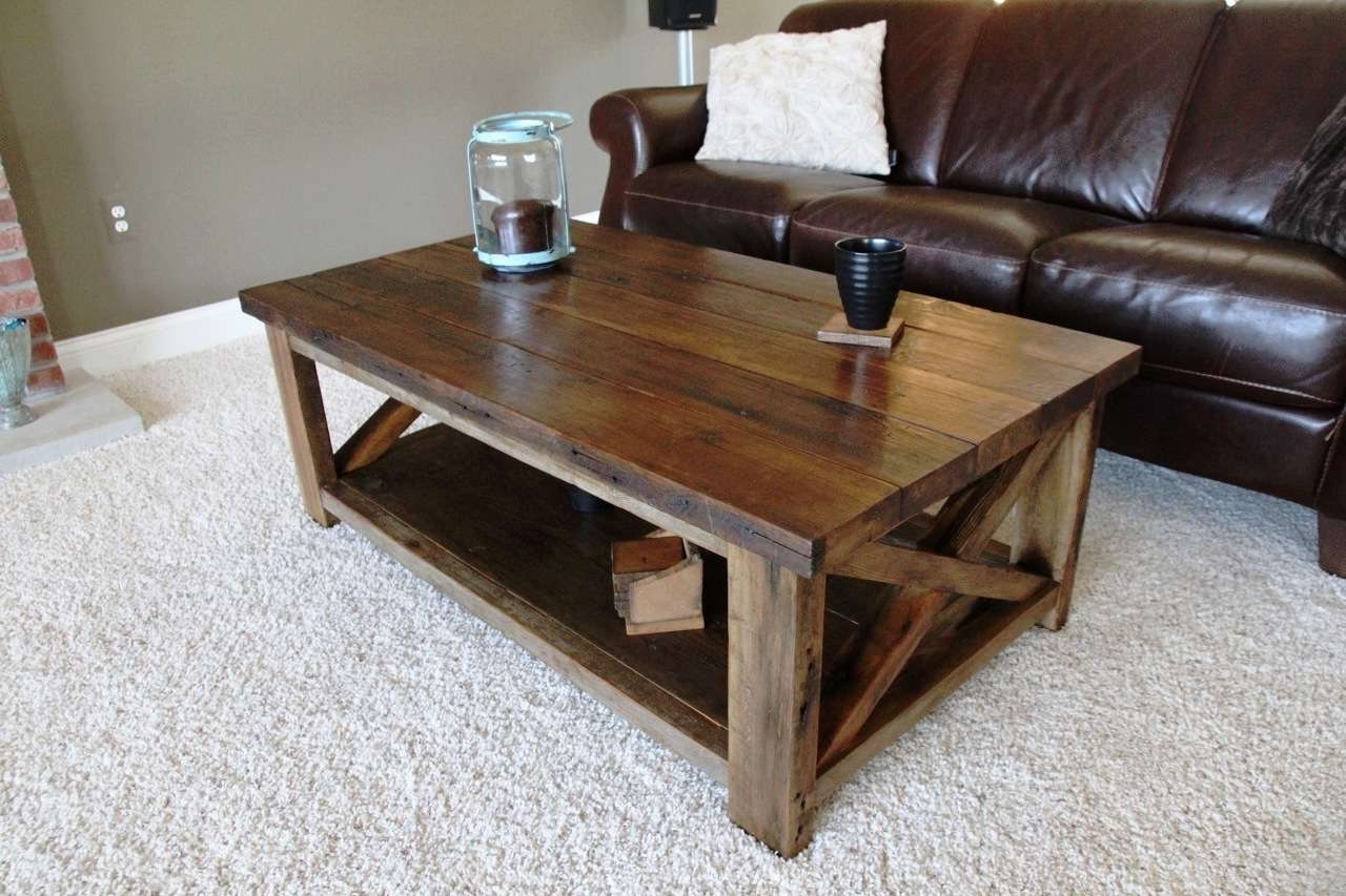 Rustic X Coffee Table – Diy Projects With Well Liked Rustic Coffee Tables With Bottom Shelf (View 16 of 20)