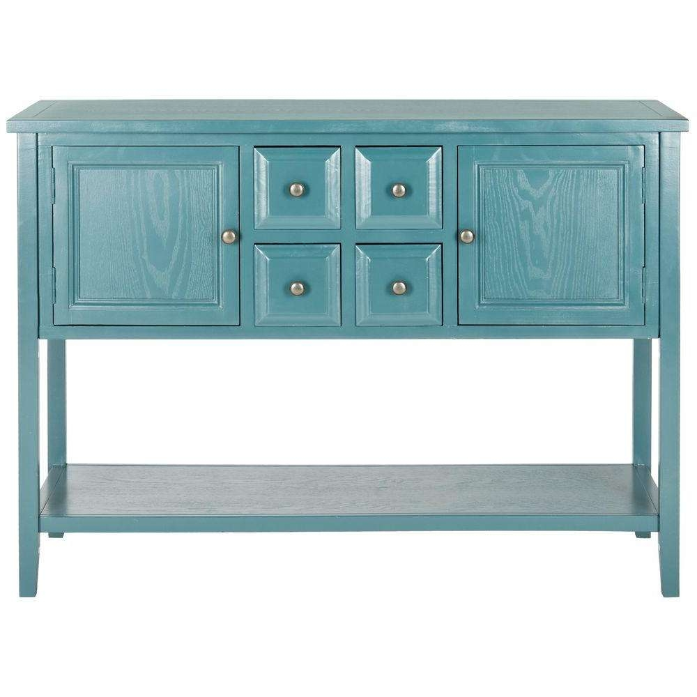 Safavieh Charlotte Slate Teal Buffet With Storage Amh6517G – The Throughout Blue Sideboards (View 13 of 20)