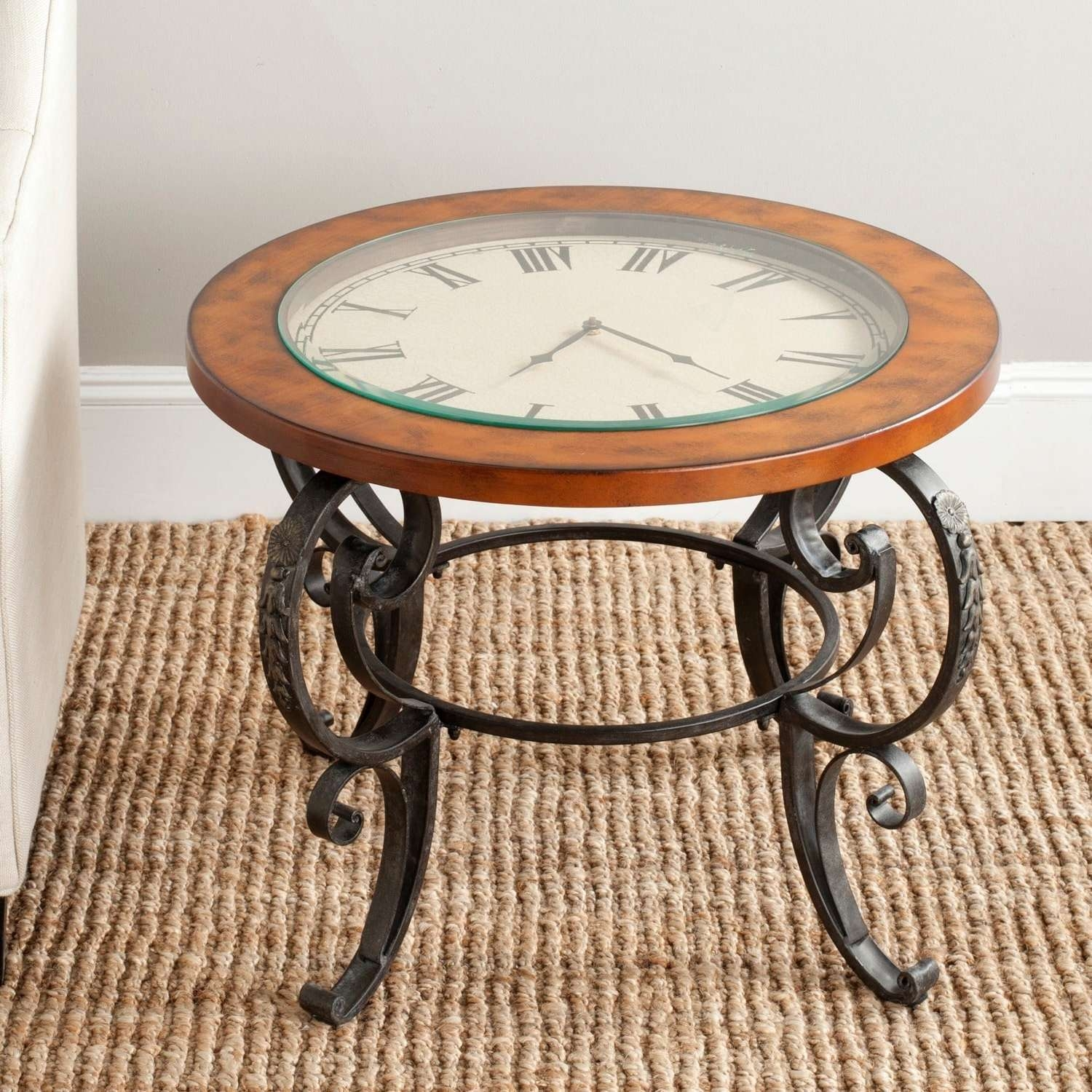 Safavieh Linda Clock Top Dark Brown Side Table – Free Shipping For Most Popular Coffee Tables With Clock Top (View 18 of 20)