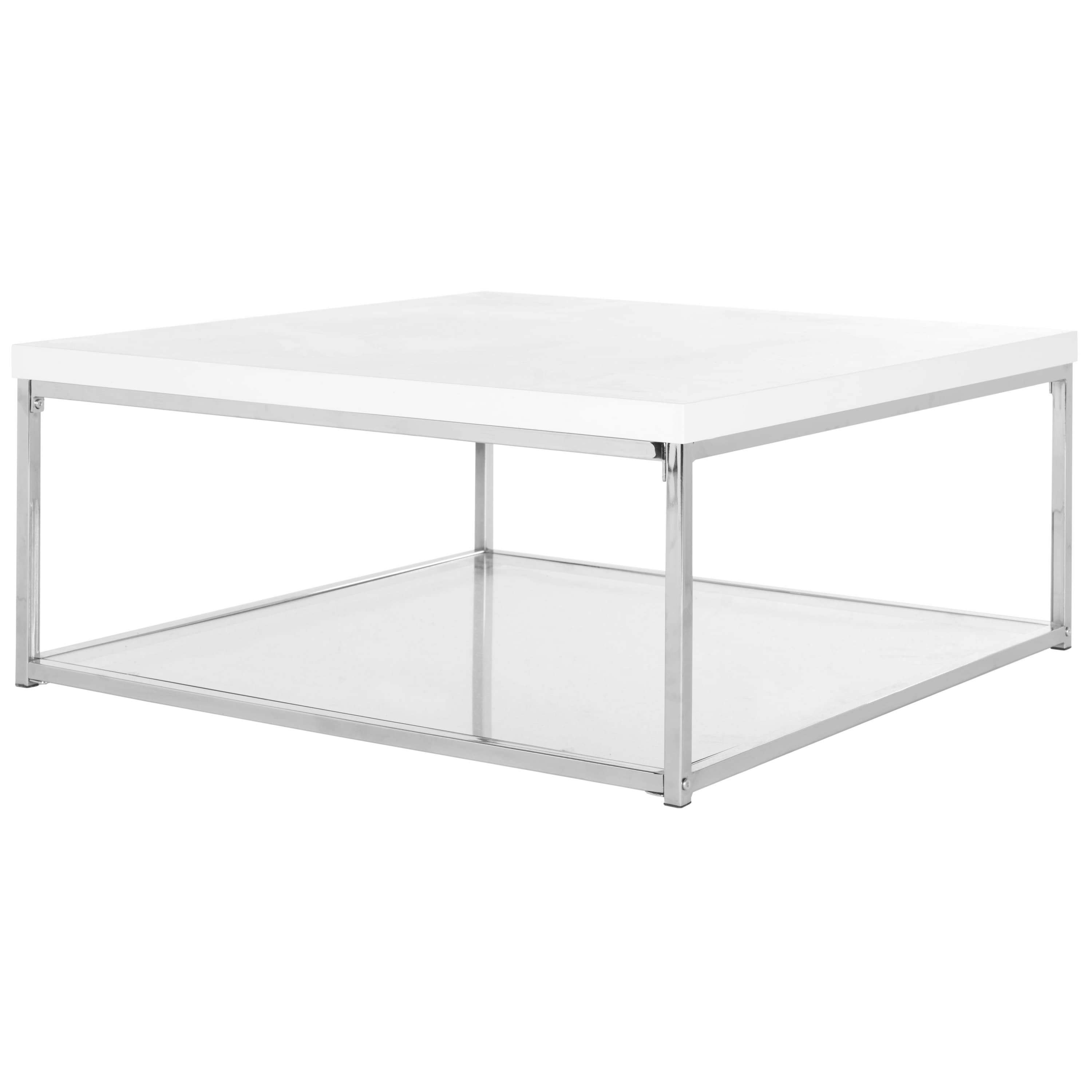 Safavieh Modern Glam Malone White/ Chrome Coffee Table – Free Regarding Most Up To Date White And Chrome Coffee Tables (View 16 of 20)