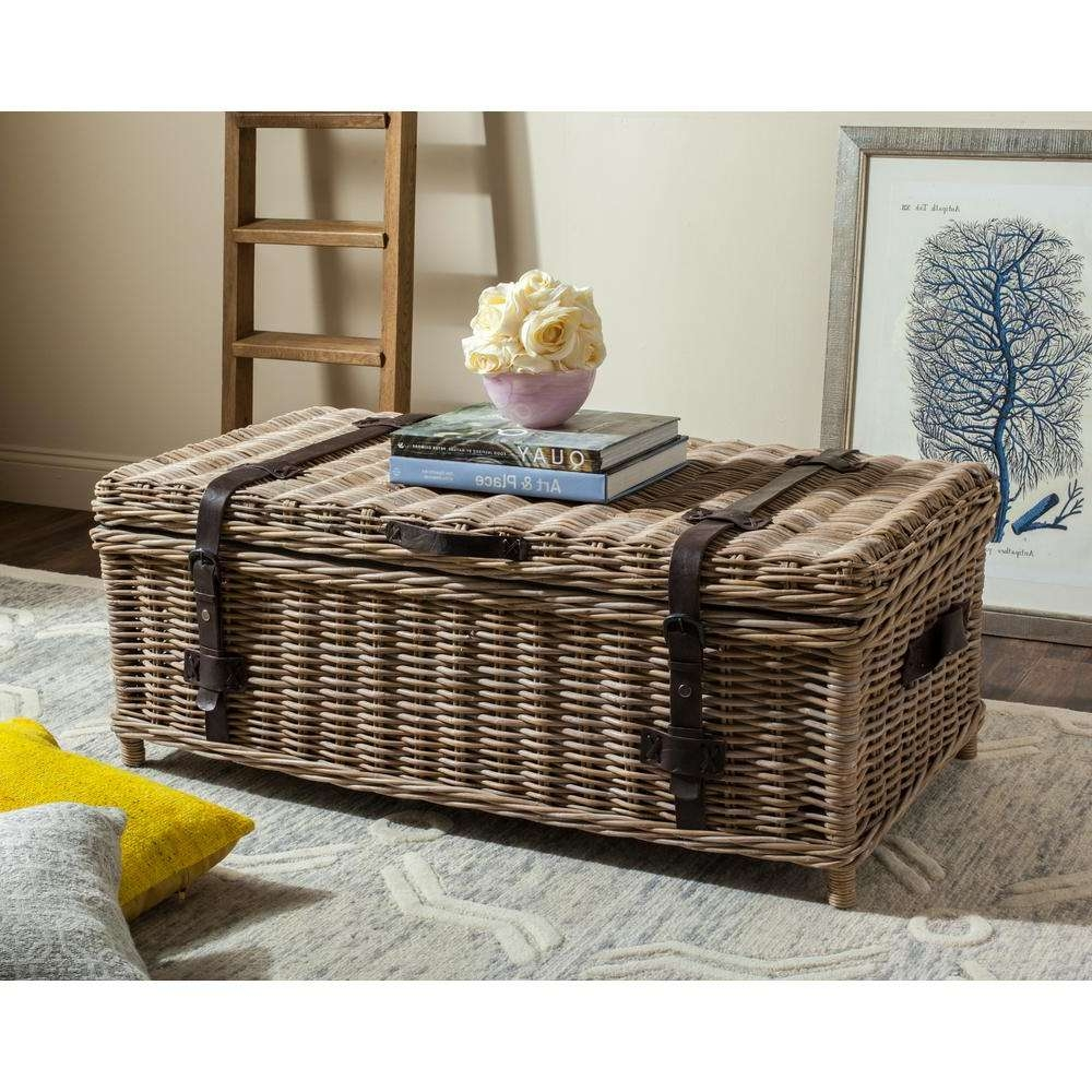 Safavieh Navarro Rattan Gray Coffee Table Trunk Sea7022B – The With Trendy Coffee Table With Wicker Basket Storage (View 16 of 20)