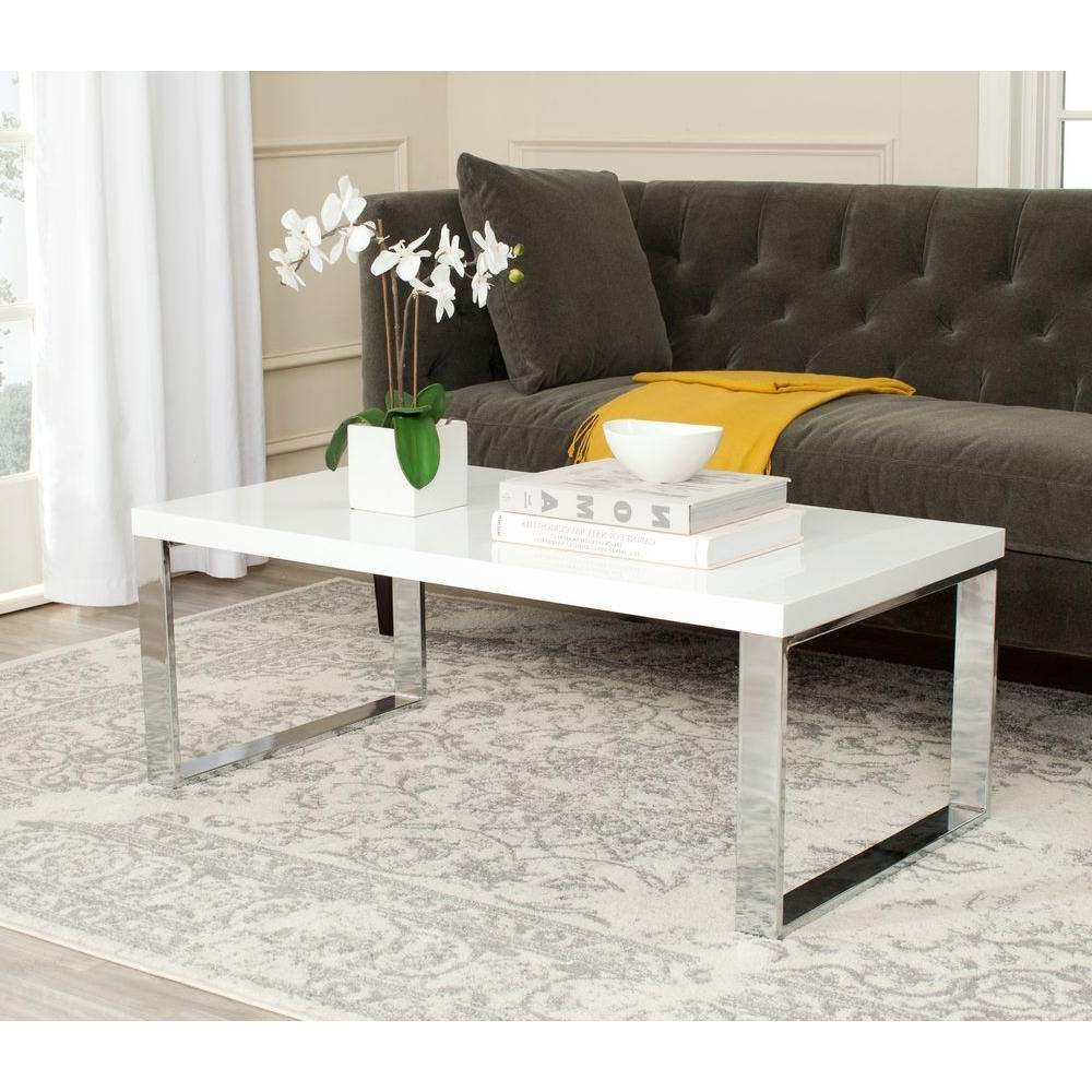 Safavieh Rockford White Coffee Table Fox2215a – The Home Depot Regarding Most Recently Released White And Chrome Coffee Tables (View 15 of 20)
