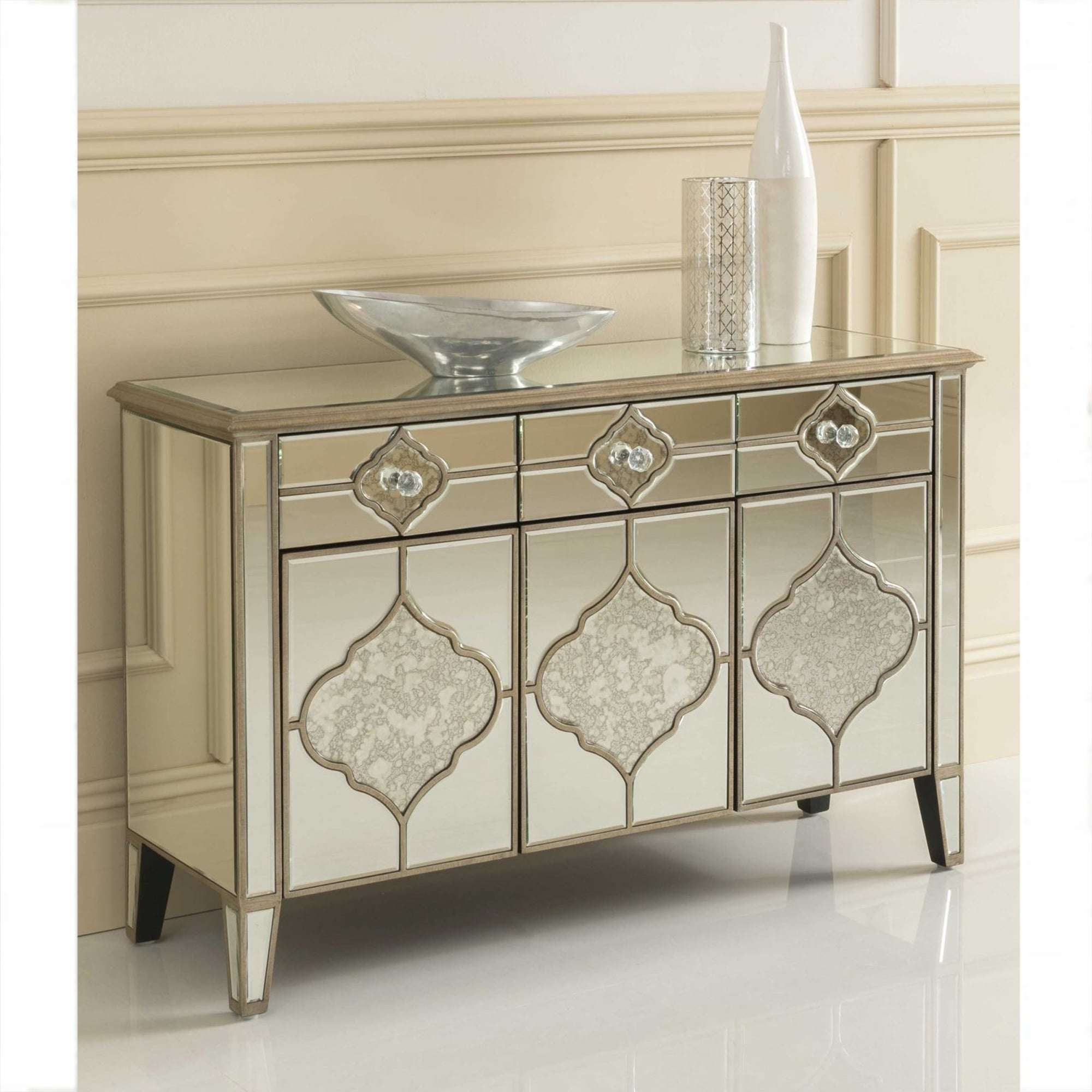Sassari Mirrored Sideboard | Venetian Glass Furniture Inside Glass Sideboards (View 9 of 20)