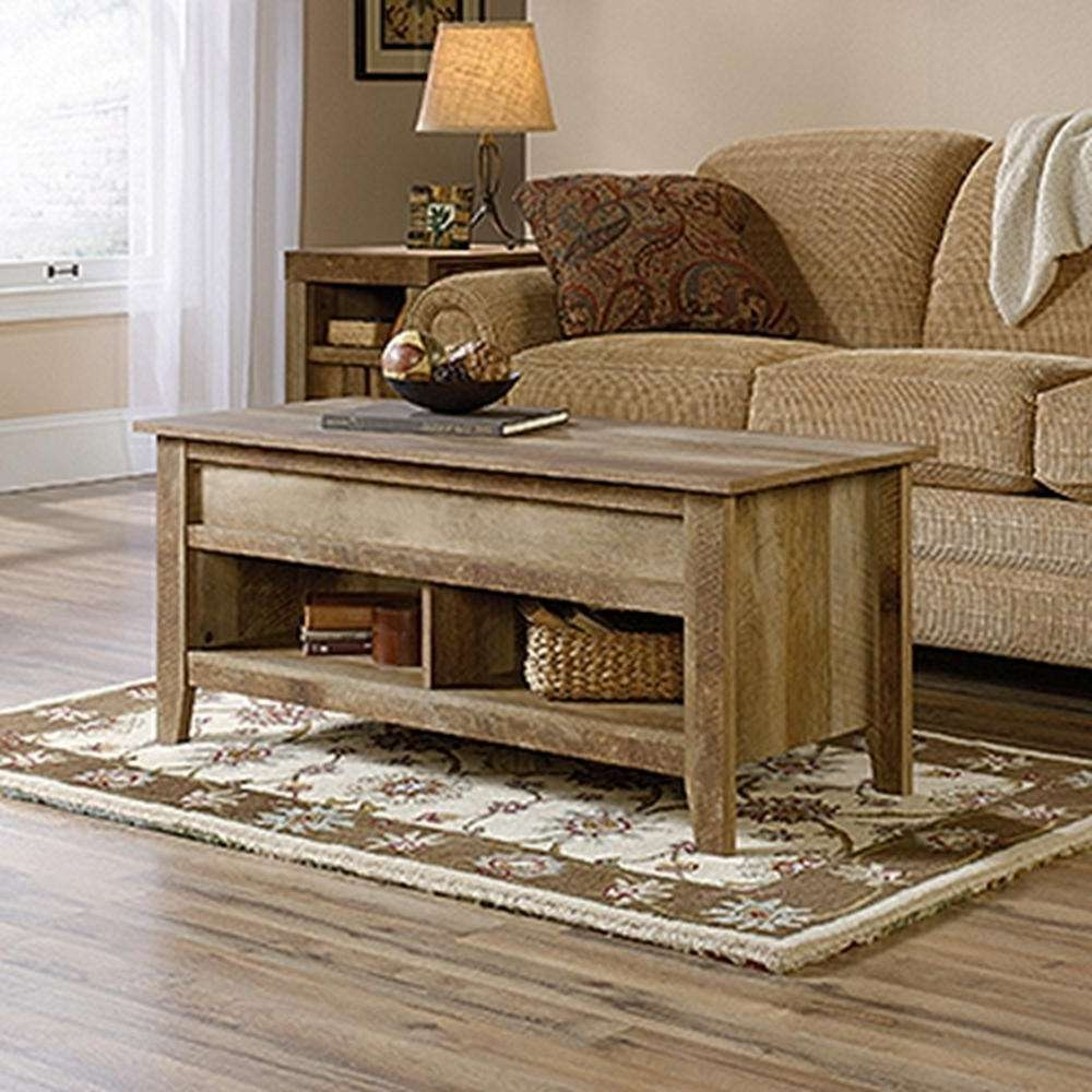 Sauder Dakota Pass Craftsman Oak Built In Storage Coffee Table With Regard To Trendy Oak Coffee Tables With Storage (View 19 of 20)