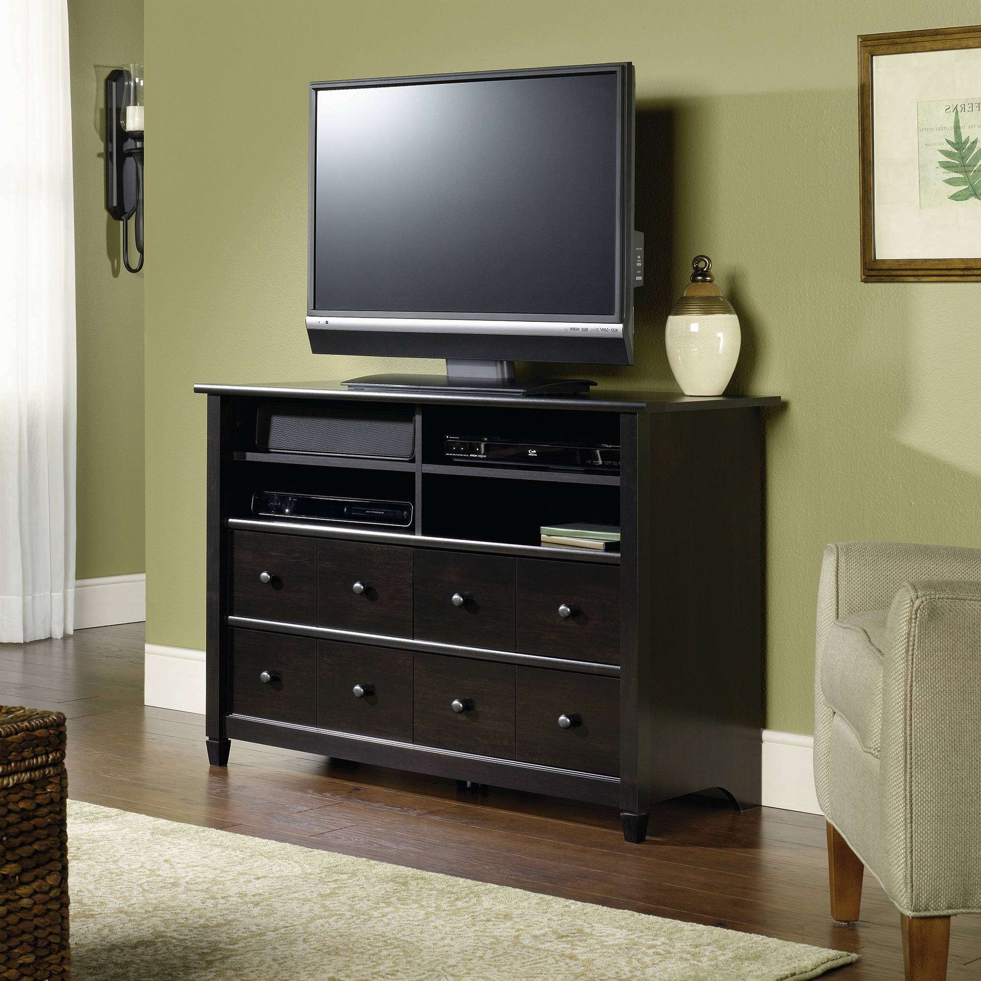 "Sauder Edge Water Tall Tv Stand For Tvs Up To 45"", Estate Black Pertaining To Black Tv Cabinets With Drawers (View 8 of 20)"
