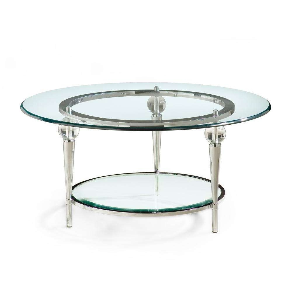 Saving Spaces Small Living Room Decoration With Round Clear Glass Intended For Current Round Chrome Coffee Tables (View 9 of 20)