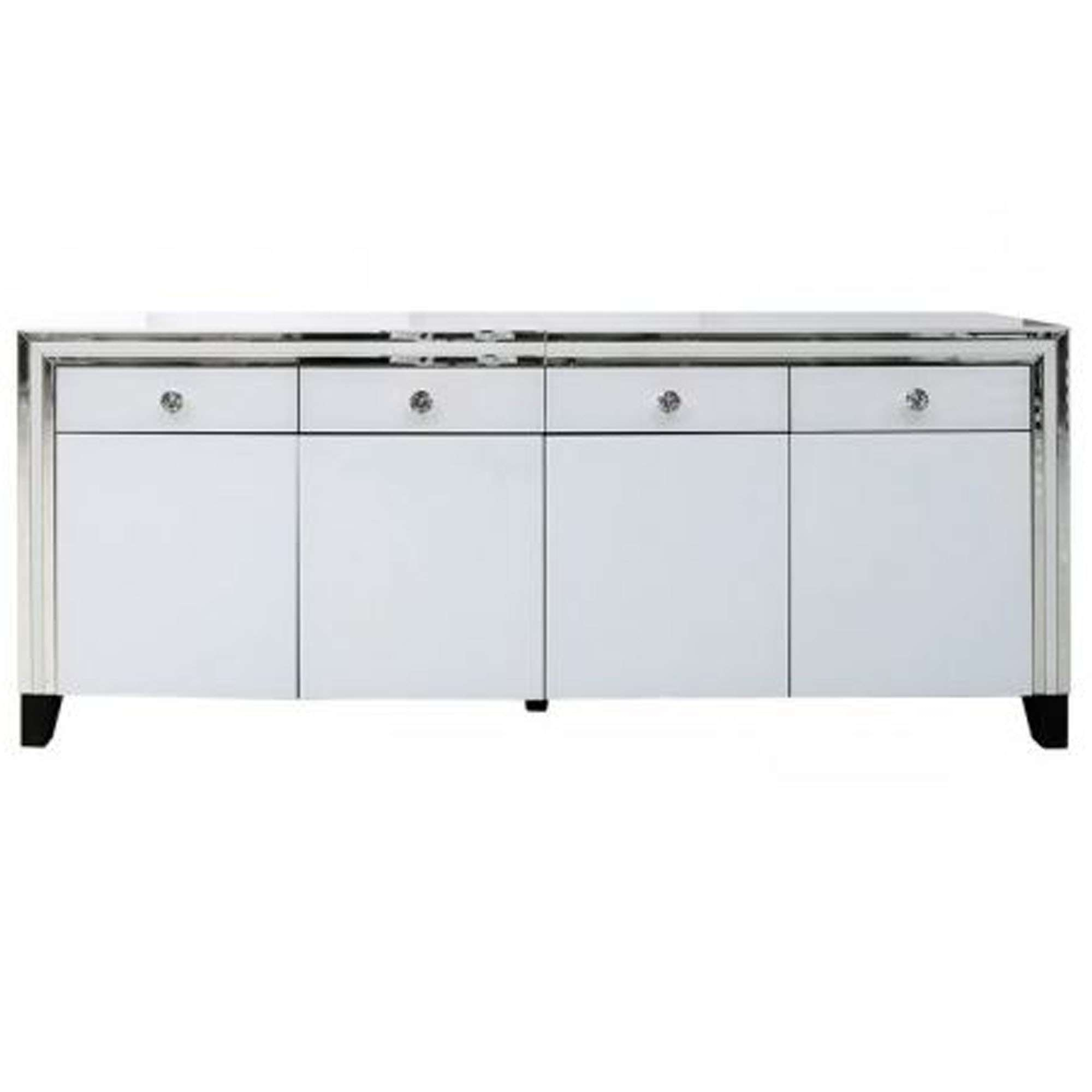 Savona White Mirrored Sideboard | Sideboard | Homesdirect365 Within White Mirrored Sideboards (View 13 of 20)