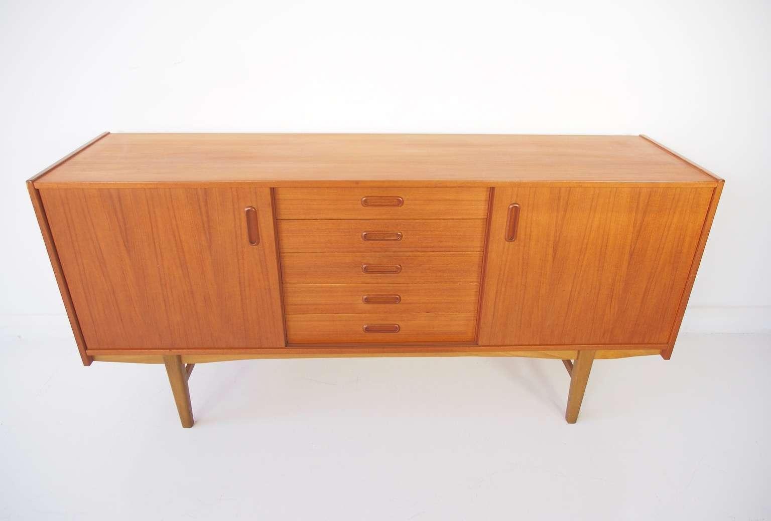 Scandinavian Modern Teak Sideboard With Shelves And Drawers, 1960s Within Scandinavian Sideboards (View 12 of 20)