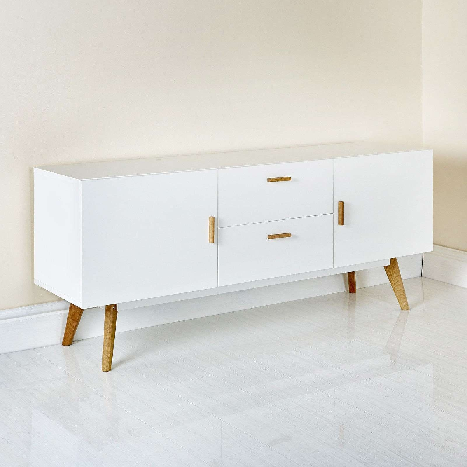Scandinavian Retro Style White Sideboard Abreo Home Furniture Throughout Retro Sideboards (View 4 of 20)