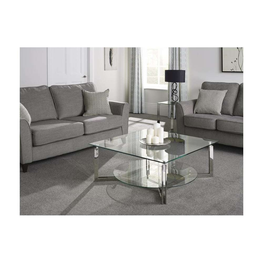 Serene Living Luna Glass Top Stainless Steel Square Coffee Table Intended For 2017 Luna Coffee Tables (View 17 of 20)