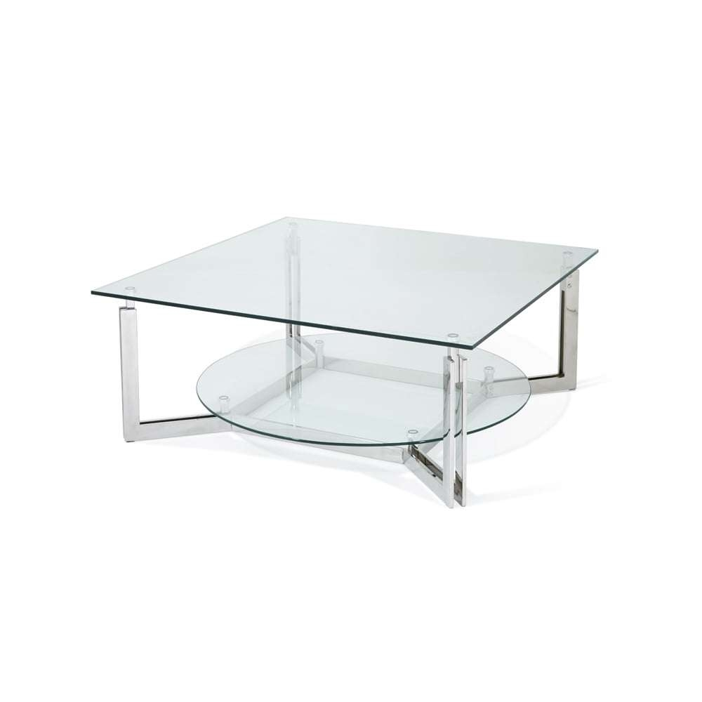 Serene Living Luna Glass Top Stainless Steel Square Coffee Table Pertaining To Most Recent Luna Coffee Tables (View 10 of 20)