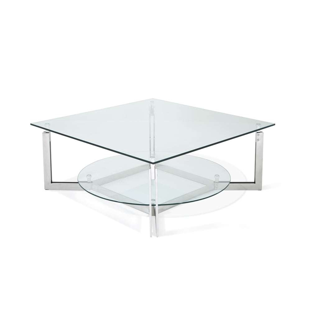 Serene Living Luna Glass Top Stainless Steel Square Coffee Table Throughout Well Liked Luna Coffee Tables (View 19 of 20)