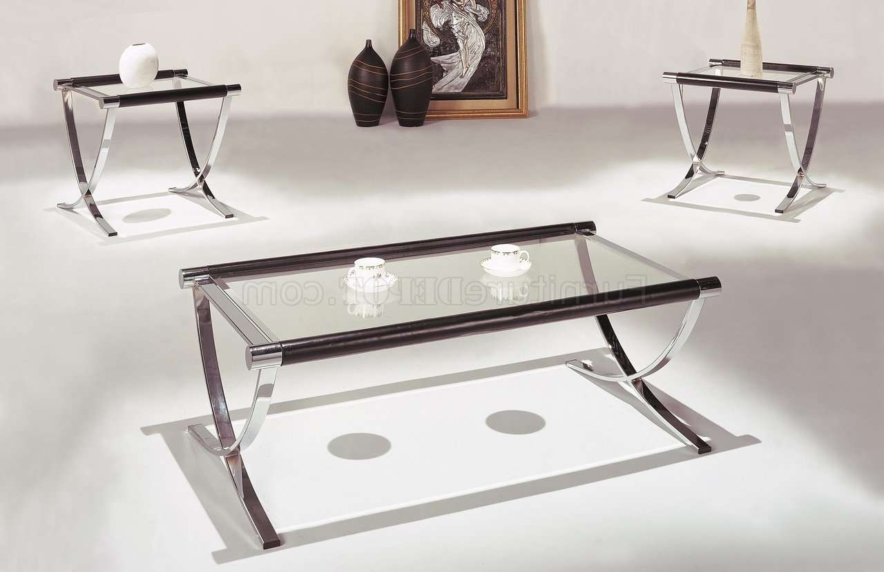 Set Of Glass Top Contemporary Coffee & End Tables W/chrome Legs Intended For Well Liked Coffee Tables With Chrome Legs (View 17 of 20)