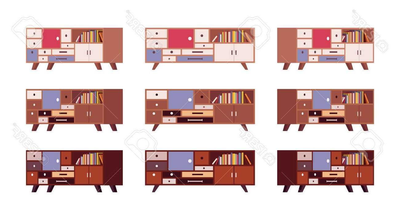Set Of Retro Sideboards With Drawers And Bookshelves Isolated Throughout Retro Sideboards (View 18 of 20)
