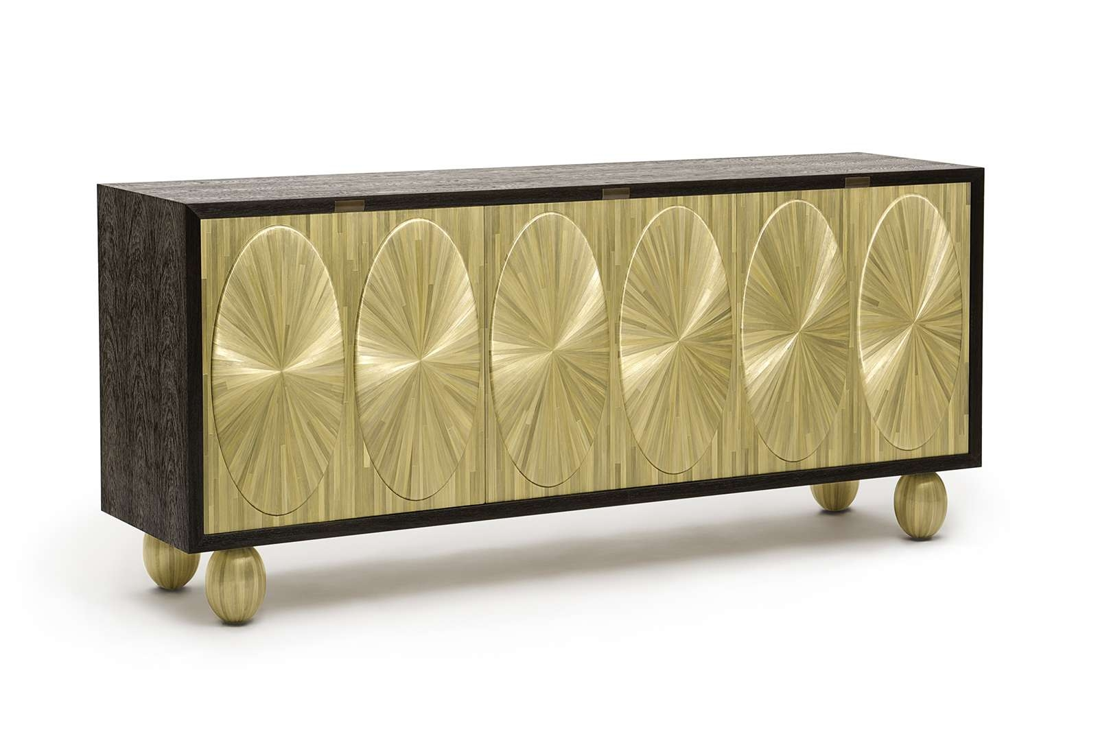 Seyssel Credenza In Straw Marquetry & Wenge   Atelier Viollet Inside Wenge Sideboards (View 11 of 20)